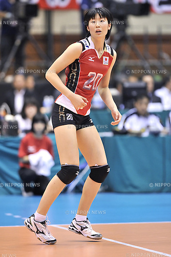 Aimi Kawashima (JPN),<br /> AUGUST 16, 2013 - Volleyball :<br /> 2013 FIVB World Grand Prix, Preliminary Round Week 3 Pool M match Japan 0-3 Bulgaria at Sendai Gymnasium in Sendai, Miyagi, Japan. (Photo by Ryu Makino/AFLO)