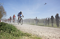 Niki Terpstra (NED/Quick-Step Floors) over the gravel 'Plugstreets'<br /> <br /> 79th Gent - Wevelgem 2017 (1.UWT)
