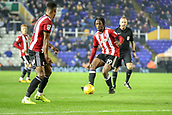 1st November 2017, St. Andrews Stadium, Birmingham, England; EFL Championship football, Birmingham City versus Brentford; Romaine Sawyers of Brentford threads a tight pass in the Birmingham City danger area