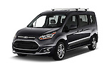2018 Ford Transit Connect Titanium 5 Door Mini Mpv Angular Front stock photos of front three quarter view