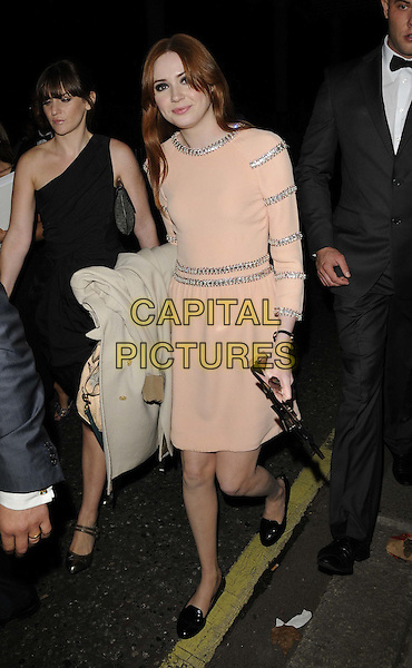 KAREN GILLAN .TV Choice Awards 2011 departures held at the Savoy Hotel, London, England..September 13th, 2011.full length silver stripe pink peach nude black shoes dress .CAP/CAN.©Can Nguyen/Capital Pictures.
