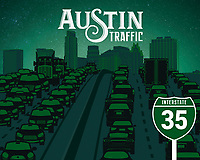 Austin I-35 Traffic silhouette fine art print in green.