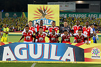 BUCARAMANGA - COLOMBIA, 04-03-2018: Jugadores de Santa Fe posan para una foto previo al partido entre Atletico Bucaramanga y el Independiente Santa Fe, de la fecha 6 por la Liga Aguila I 2018, jugado en el estadio Alfonso Lopez de la ciudad de Bucaramanga. / Players of Santa Fe pose to a photo prior a match between Atletico Bucaramanga and Independiente Santa Fe, for the 6th date for the Liga Aguila I 2018 at the Alfonso Lopez Stadium in Bucaramanga city Photo: VizzorImage  / Oscar Martinez / Cont.