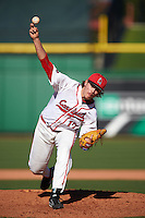 Ball State Cardinals relief pitcher Nick Floyd (17) delivers a pitch during a game against the Louisville Cardinals on February 19, 2017 at Spectrum Field in Clearwater, Florida.  Louisville defeated Ball State 10-4.  (Mike Janes/Four Seam Images)