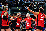 25.08.2018, …VB Arena, Bremen<br />Volleyball, LŠ&auml;nderspiel / Laenderspiel, Deutschland vs. Niederlande<br /><br />Jubel Louisa Lippmann (#11 GER), Lenka DŸrr / Duerr (#1 GER), Maren Fromm (#4 GER), Jennifer Geerties (#6 GER), Denise Hanke (#3 GER)<br /><br />  Foto &copy; nordphoto / Kurth