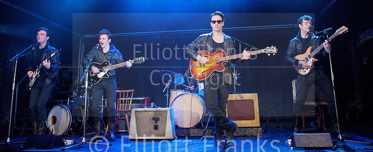 Backbeat <br /> at The Duke of York's Theatre, London, Great Britain <br /> press photocall<br /> 7th October 2011 <br /> <br /> directed by David Leveaux<br /> <br /> Nick Blood (as Stuart Sutcliffe)<br /> <br /> Andrew Knott (as John Lennon)<br /> <br /> Daniel Healy (as Paul McCartney)<br /> <br /> William Payne (as George Harrison)<br /> <br /> Oliver Bennett (as Pete Best)<br /> <br /> <br /> Photograph by Elliott Franks