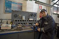 Roma 24 Febbraio 2012.I lavoratori della Rsi Italia SpA (Rail Service Italia, ex Wagons Lits), in Cassa Integrazione straordinaria da 6 mesi hanno occupato la fabbrica di via Umberto Partini a Roma. Sono 59 operai (33 metalmeccanici, 26 dei trasporti), addetti alla manutenzione dei Treni Notte..Massimo, operaio..Workers at the Rsi Italy SpA (Italy Rail Service, former Wagons Lits), extraordinary layoff from 6 months have occupied the factory in via Umberto Partini in Rome. We are 59 workers (33 metalworkers, 26 transport), Night Train maintenance workers. Rome, Italy 24th of February 2012