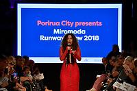 Miromoda Runway Show 2018 at PATAKA Art + Museum, Porirua, New Zealand on Saturday 30 June 2018.<br /> Photo by Masanori Udagawa. <br /> www.photowellington.photoshelter.com