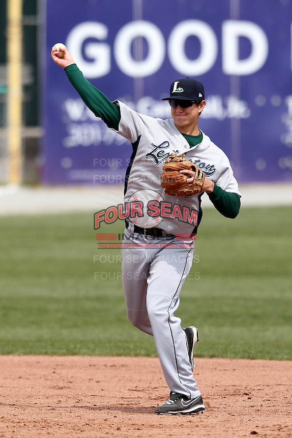 Lexington Legends third baseman James Howick #9 during a game against the Hagerstown Suns at Municipal Park on April 11, 2012 in Hagerstown, Maryland.  Lexington defeated Hagerstown 3-0.  (Mike Janes/Four Seam Images)