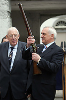 11/05/07 Dr. Ian Paisley presents  Taoiseach, Bertie Ahern with a 300 year old Musket which was used by King James in the Battle of the Boyne this morning pictured at Oldbridge House, the site of the Battle of The Boyne in 1690....Picture Collins, Dublin, Colin Keegan.