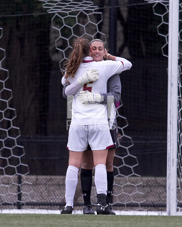 Boston College goalkeeper Jillian Mastroianni (30) celebrates a shut out win. Boston College defeated North Carolina State,1-0, on Newton Campus Field, on October 23, 2011.