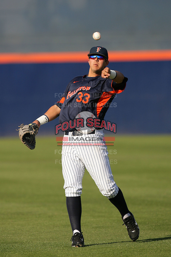 March 27, 2010: Nick Ramirez of Cal. St. Fullerton during game against Hawaii at Goodwin Field in Fullerton,CA.  Photo by Larry Goren/Four Seam Images