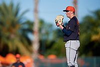 Detroit Tigers relief pitcher Kyle Funkhouser (76) looks in for the sign during a Grapefruit League Spring Training game against the Baltimore Orioles on March 3, 2019 at Ed Smith Stadium in Sarasota, Florida.  Baltimore defeated Detroit 7-5.  (Mike Janes/Four Seam Images)