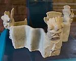 A ceramic piece representing Cocijo, the Rain God, from the ruins of the Zapotec city of Atzompa in the Museo Comunitario Santa Maria Atzompa, Oaxaca, Mexico.