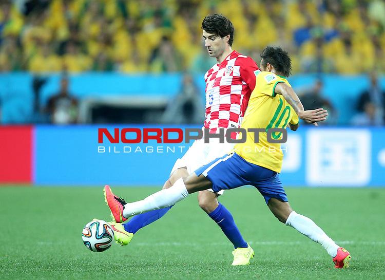 2014 Fifa World Cup opening game from group A against Brazil and Croatia.<br /> Vedran Corluka, Neymar Jr<br /> <br /> Foto &copy;  nph / PIXSELL / Sajin Strukic