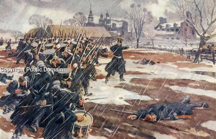 La bataille de Saint-Denis , le 23 novembre 1837.<br /> <br /> La bataille de Saint-Denis est un combat livré le 23 novembre 1837 lors de la rébellion du Bas-Canada de 1837-1838. Elle opposa les 800 Patriotes du docteur Wolfred Nelson aux 300 Britanniques de Sir Charles Gore et prit fin avec la défaite de ces derniers
