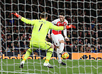 Arsenal's Mesur Ozil scoring his sides second goal<br /> <br /> Barclays Premier League- Arsenal vs AFC Bournemouth - Emirates Stadium - England - 28th December 2015 - Picture - David Klein/Sportimage