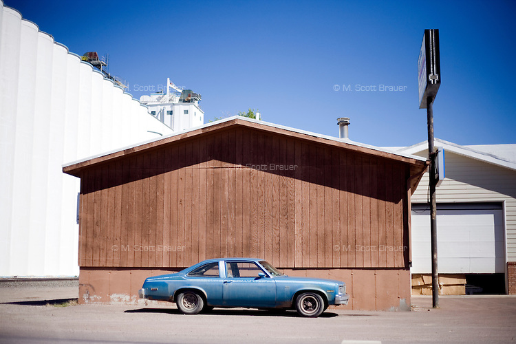 A car parked in Great Falls, Montana, USA.