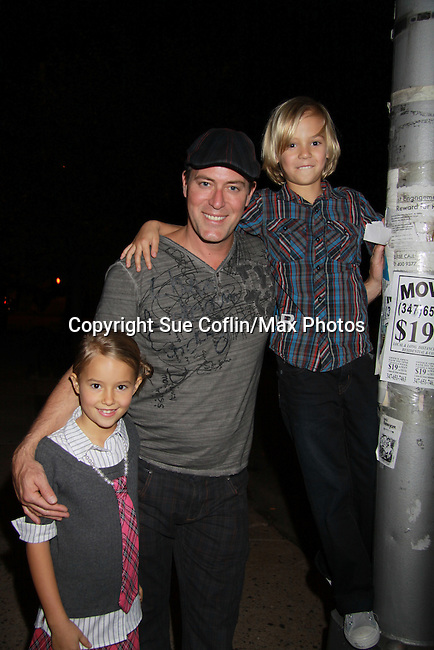 Robert Bogue and his kids Zoe and Zeb at the 7th Annual Rock Show For Charity hosted by Kristen Alderson and Gina Tognoni and Bradley Cole to benefit American Red Cross - disaster relief efforts in Japan on October 8, 2011 at the SoHo Playhouse, New York City, New York. (Photo by Sue Coflin/Max Photos)