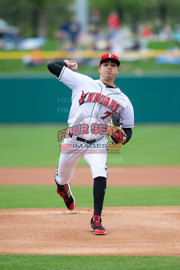 Indianapolis Indians starting pitcher Eduardo Vera (7) during an International League game against the Columbus Clippers on April 30, 2019 at Victory Field in Indianapolis, Indiana. Columbus defeated Indianapolis 7-6. (Zachary Lucy/Four Seam Images)