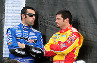 Apr 26, 2008; Talladega, AL, USA; NASCAR Nationwide Series driver Dario Franchitti (left) with Patrick Carpentier prior to the Aarons 312 at the Talladega Superspeedway. Mandatory Credit: Mark J. Rebilas-