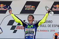 Valentino Rossi celebrating in Motorcycle Championship GP, in Jerez, Spain. April 24, 2016