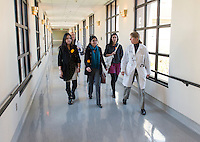 From left, Amber Thai '15, Pari Vanjara '14 and Cecilia Miranda '15 walk with Dr. Kimberly Shriner '80 at Huntington Memorial Hospital, Pasadena, Jan. 8, 2013.<br />