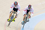 The team of Japan with Yoshitaku Nagasako, Yudai Nitta and Kazunari Watanabe compete in Men's Team Sprint - Qualifying match as part of the 2017 UCI Track Cycling World Championships on 12 April 2017, in Hong Kong Velodrome, Hong Kong, China. Photo by Victor Fraile / Power Sport Images