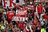 BOGOTA - COLOMBIA - 19-03-2017: Hinchas de Independiente Santa Fe, animan a su equipo durante partido de la fecha 10 entre Millonarios y el Independiente Santa Fe, por la Liga Aguila I-2017, jugado en el estadio Nemesio Camacho El Campin de la ciudad de Bogota. / Fans of Independiente Santa Fe, cheer for their team during a match of the date 10 between Millonarios and Independiente Santa Fe, for the Liga Aguila I-2017 played at the Nemesio Camacho El Campin Stadium in Bogota city, Photo: VizzorImage / Luis Ramirez / Staff.