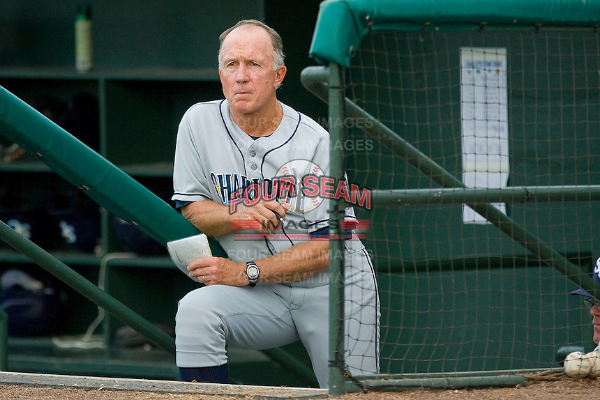 Charlotte Stone Crabs manager Jim Morrison #2 watches the action from the visitor's dugout during a Florida State League game against the Jupiter Hammerheads at Roger Dean Stadium June 15, 2010, in Jupiter, Florida.  Photo by Brian Westerholt /  Seam Images