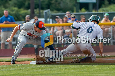 31 July 2016: Vermont Lake Monsters infielder Nate Mondou slides safely into third during a game against the Connecticut Tigers at Centennial Field in Burlington, Vermont. The Lake Monsters edged out the Tigers 4-3 in NY Penn League action.  Mandatory Credit: Ed Wolfstein Photo *** RAW (NEF) Image File Available ***