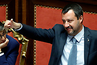 Matteo Salvini ok<br /> Rome March 20th 2019. Senate vote on the immunity from prosecution for the Minister of Internal Affairs Matteo Salvini.  Last August 20th a ship, carrying 177 migrants (among them many minors) docked in the harbour of Catania but Minister Salvini took the decision to block migrants of Diciotti ship at sea. For that reason the magistracy accused the minister of kidnapping.<br /> Foto Samantha Zucchi Insidefoto