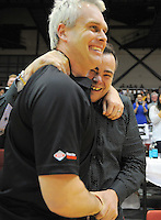 Saints owner Nick Mills celebrates the victory with coach Shane Heal after the national basketball league final between Wellington Saints and Bay Hawks at TSB Bank Arena, Wellington, New Zealand on Saturday, 5 July 2014. Photo: Dave Lintott / lintottphoto.co.nz