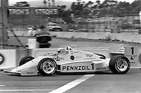 LONG BEACH, CA - APRIL 13: Rick Mears drives his Penske PC15 001/Chevrolet during the Toyota Grand Prix of Long Beach CART Indy Car race on the temporary Long Beach Street Circuit in Long Beach, California, on April 13, 1986.