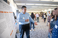 "Allen Li presents, ""Assessment of a Cyclodearomatization Approach to Access the Tricyclic Core of Swerilactone A""<br /> Mentor: Raul Navarro, Chemistry<br /> Occidental College's Undergraduate Research Center hosts their annual Summer Undergraduate Research Conference on July 31, 2019. Student researchers presented their work as either oral or poster presentations at this final conference. The program lasts 10 weeks and involves independent research in all departments.<br /> (Photo by Marc Campos, Occidental College Photographer)"