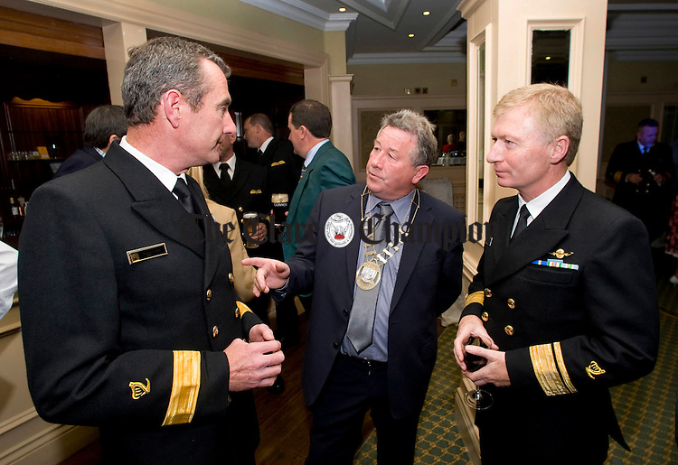 Michael Guilfoyle, Mayor of Ennis, chats with Eugene Clonan, deputy director, and Chris Reynolds, diirector of the Irish Coast Guard, at the launch of Rescue 115, an RTE documentary series which follows the rescue crews from the Shannon Coast Guard. Photograph by Declan Monaghan