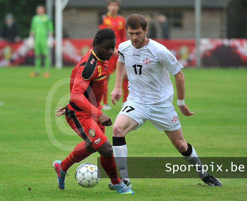 Georgia U19 - Belgium U19 : Nathan Kabasele (9) and Budu Zivzivadze (17)<br /> foto DAVID CATRY / Nikonpro.be