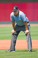 Umpire Tyler Wilson handles the calls on the bases during a Carolina League game between the Wilmington Blue Rocks and the Winston-Salem Dash at the BB&T Park April25, 2010, in Winston-Salem, North Carolina.  Photo by Brian Westerholt / Four Seam Images