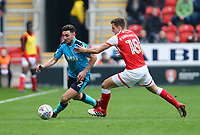 Lewis Coyle of Fleetwood Town wins the ball against Ben Purrington of Rotherham United during the Sky Bet League 1 match between Rotherham United and Fleetwood Town at the New York Stadium, Rotherham, England on 7 April 2018. Photo by Leila Coker.