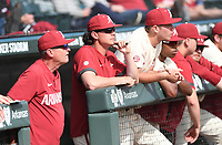 Arkansas' head coach Dave Van Horn (left) watches from the dugout during the Hogs' 10-9 win over Grand Canyon University Wednesday March 11, 2020 at Baum-Walker Stadium in Fayetteville. Visit nwaonline.com/200312Daily/ for more images. (NWA Democrat-Gazette/J.T. Wampler)