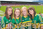 Orla White, Castleisland, Aileen Twoomey, Ballymac, Orla Connell, Castleisland and Aisling O'Brien, Ballymac Kerry fans at the Munster Senior Football Final in Fitzgerald Stadium in Killarney on Sunday.