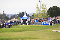 Jon Rahm (ESP) on the 1st tee during Round 4 of the Open de Espana 2018 at Centro Nacional de Golf on Sunday 15th April 2018.<br /> Picture:  Thos Caffrey / www.golffile.ie<br /> <br /> All photo usage must carry mandatory copyright credit (&copy; Golffile | Thos Caffrey)