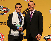 Michael Nanchoff with commisioner Don Garber at the 2011 MLS Superdraft, in Baltimore, Maryland on January 13, 2010.