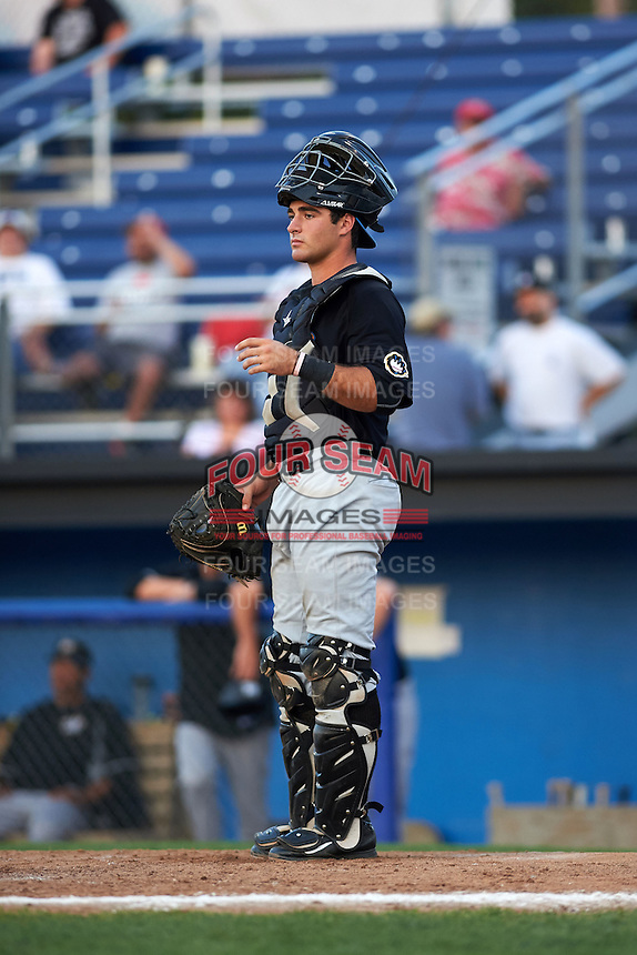 West Virginia Black Bears catcher Daniel Arribas (23) during a game against the Batavia Muckdogs on August 30, 2015 at Dwyer Stadium in Batavia, New York.  Batavia defeated West Virginia 8-5.  (Mike Janes/Four Seam Images)