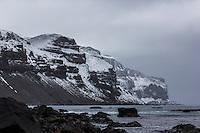 Icy coastline of Heard Island, Antarctica
