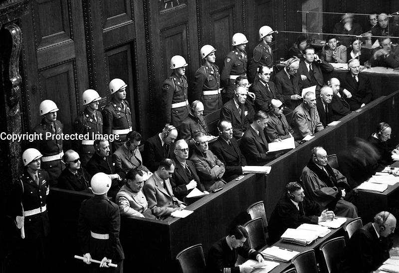Nuremberg Trials. Looking down on defendants' dock, ca. 1945-46. (WWII War Crimes Records)<br /> Exact Date Shot Unknown
