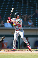 Surprise Saguaros right fielder Lane Thomas (23), of the St. Louis Cardinals organization, at bat during an Arizona Fall League game against the Mesa Solar Sox at Sloan Park on November 1, 2018 in Mesa, Arizona. Surprise defeated Mesa 5-4 . (Zachary Lucy/Four Seam Images)
