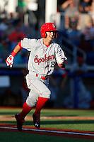 Gabe Roa #8 of the Spokane Indians runs the bases during a game against the Hillsboro Hops at Hillsboro Ballpark on July 22, 2013 in Hillsboro Oregon. Spokane defeated Hillsboro, 11-3. (Larry Goren/Four Seam Images)