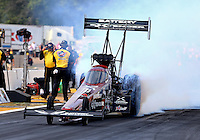 Aug. 18, 2013; Brainerd, MN, USA: NHRA top fuel dragster driver Spencer Massey during the Lucas Oil Nationals at Brainerd International Raceway. Mandatory Credit: Mark J. Rebilas-