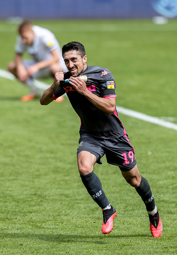 Leeds United's Pablo Hernandez celebrates scoring his side's first goal  <br /> <br /> Photographer Andrew Kearns/CameraSport<br /> <br /> The EFL Sky Bet Championship - Swansea City v Leeds United - Sunday 12th July 2020 - Liberty Stadium - Swansea<br /> <br /> World Copyright © 2020 CameraSport. All rights reserved. 43 Linden Ave. Countesthorpe. Leicester. England. LE8 5PG - Tel: +44 (0) 116 277 4147 - admin@camerasport.com - www.camerasport.com